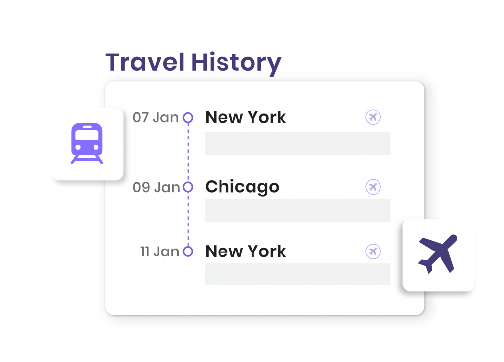Enter travel history Using COVID-19 Contact Tracing App